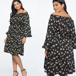 Eloquii Floral Off Shoulder Flare Sleeve Dress